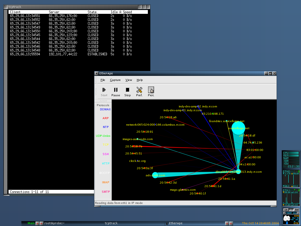 Nst Screen Shots Security Monitor Network Running Tcptrack And Etherape